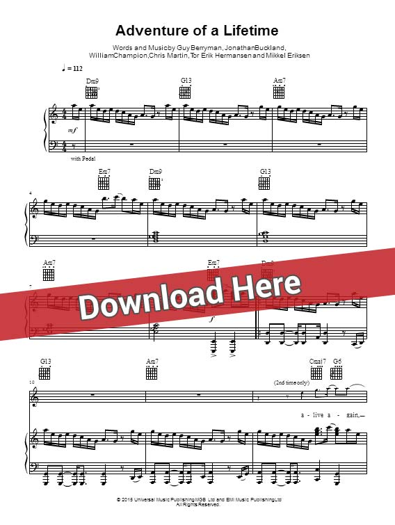 Coldplay Adventure Of A Lifetime Sheet Music Piano Notes Chords